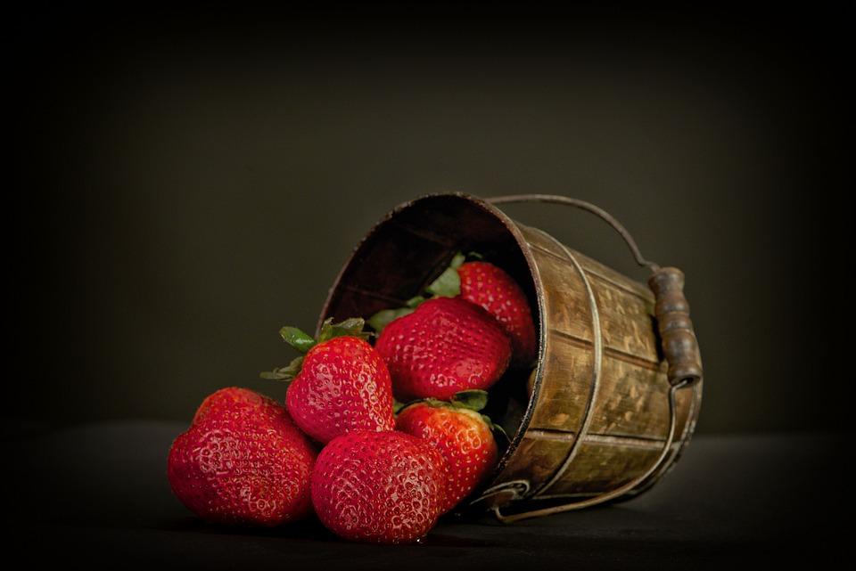 Fruits, Strawberries, Basket, Bucket, Fresh, Ripe