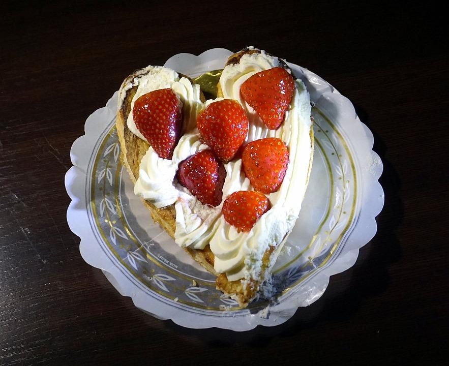 Strawberries, Cream, Pastry, Cakes, Sweet