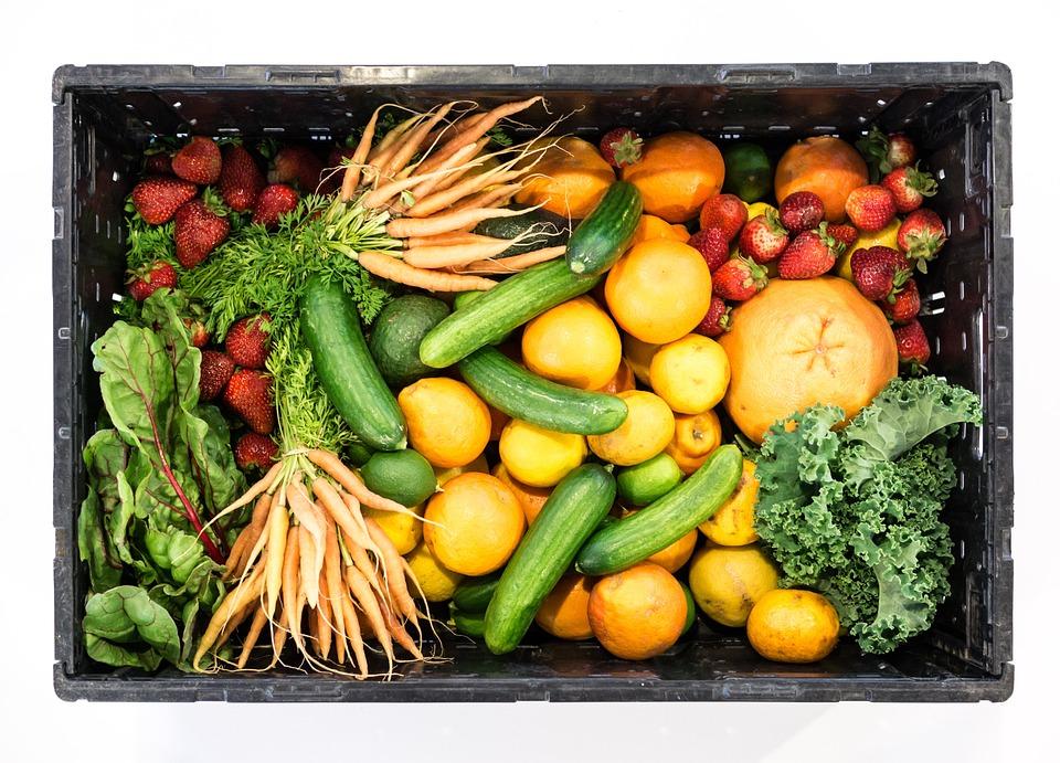 Fruit, Vegetables, Box, Healthy, Food, Strawberries