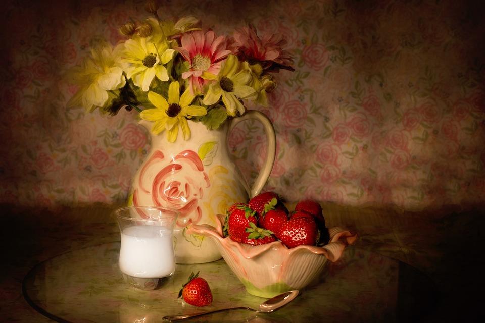 Still-life, Strawberries In A Bowl, Cream