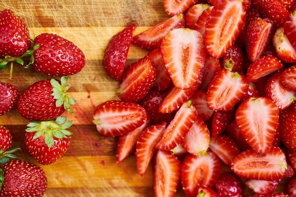 Strawberries, Red, Sliced, Fruits, Sliced Strawberries