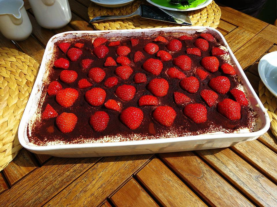Tiramisu, Sweet Dish, Strawberries, Delicious, Red