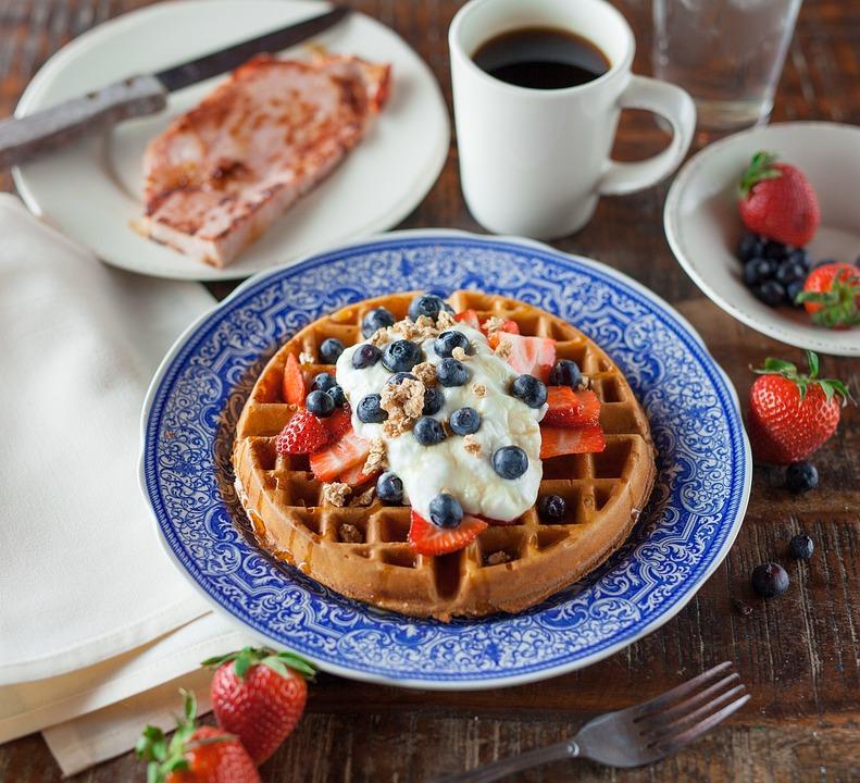 Waffle, Pancake, Food, Breakfast, Snack, Strawberry
