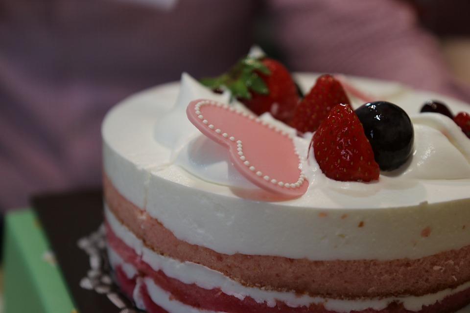 Cake, Birthday, Love, Hart, Strawberry Cake, Strawberry