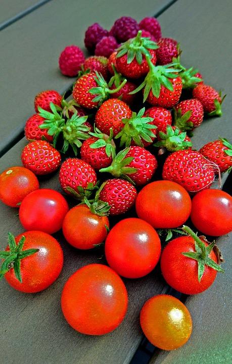 Raspberry, Strawberry, Tomato, Berries, Food, Fruit