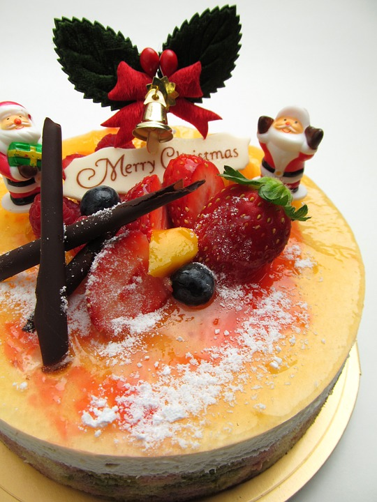 Cake, Christmas, Fruit, Champagne, Mango, Strawberry