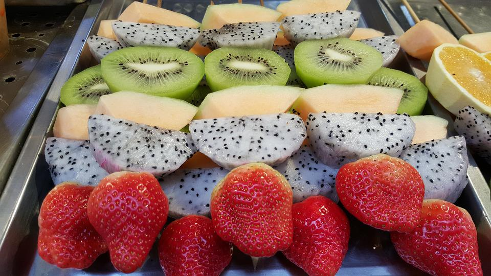 Fresh Fruit, Kiwi, Strawberry, Dragon Fruit, Mango