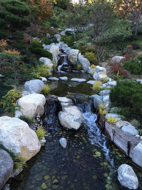 Stream, Garden, Bridge
