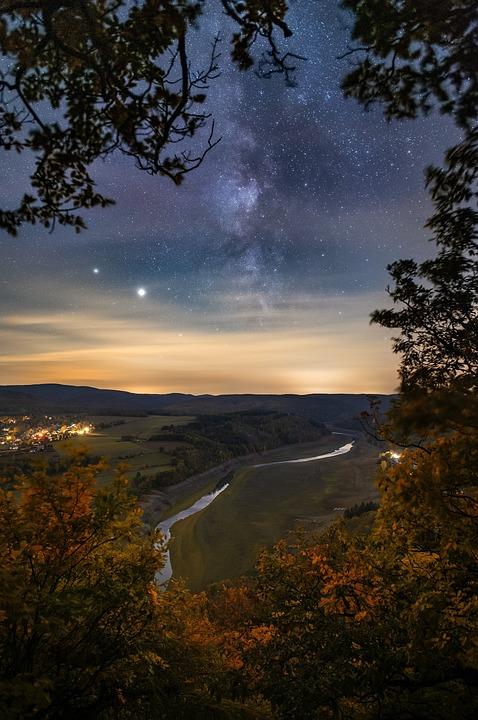 Milky Way, Galaxy, Stars, River, Stream, Mountains