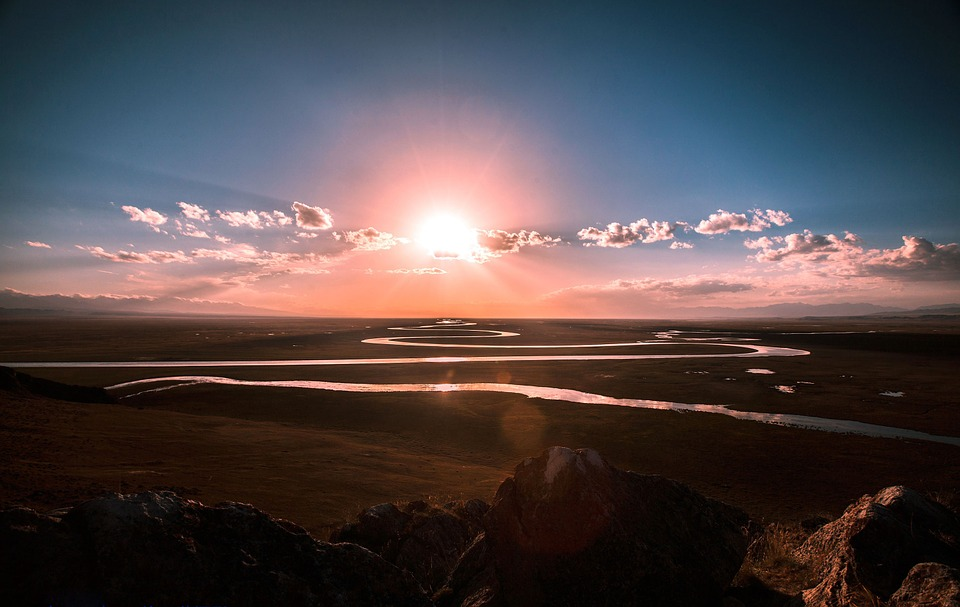 River, Stream, Curved, Prairie, Sunrise, Nature
