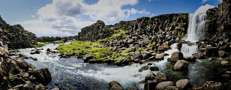 Waterfall, River, Stream, Rocks, Sky, Water, Clouds