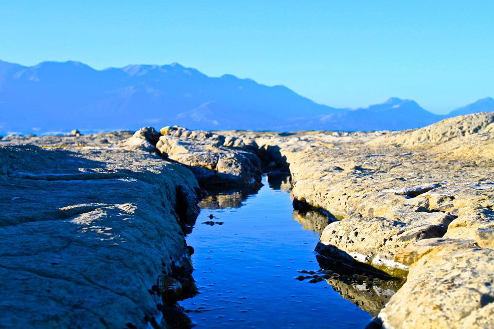 Stream, Rocks, Surface, Blue, Sky, Mountains