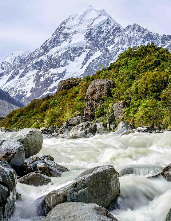 River, Torrent, Motion, Snowy Mountain, Stream, Water