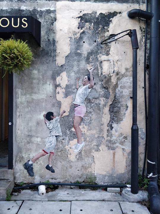 Children, Painting, Wall, Street Art, Graffiti, Old