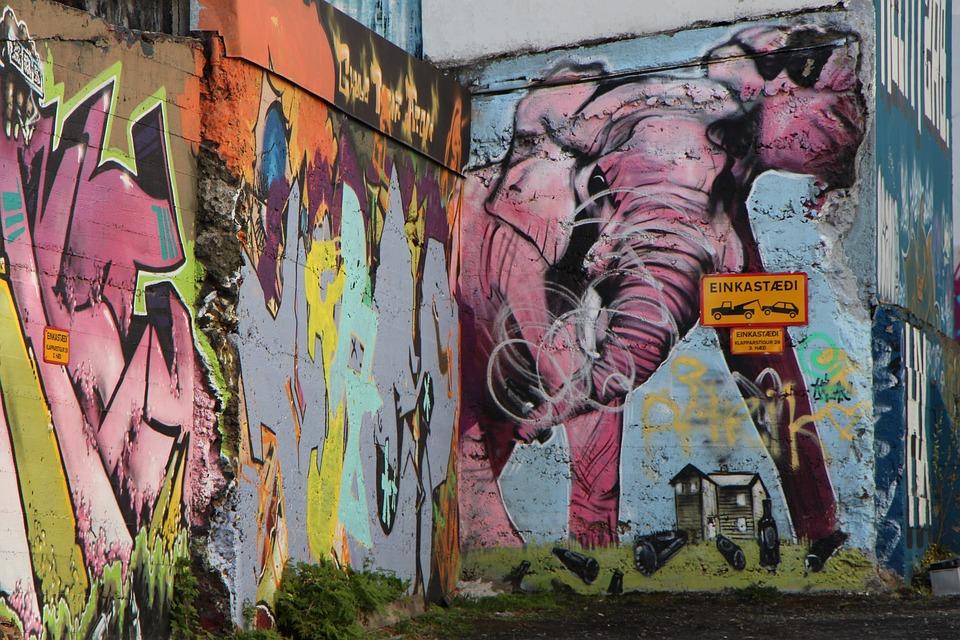 Wall, Graffiti, Reykjavik, Elephant, Pink, Street Art