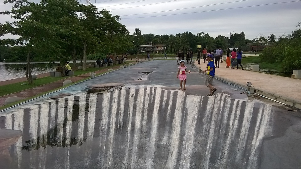 Street Art, Sri Lanka, Water Fall