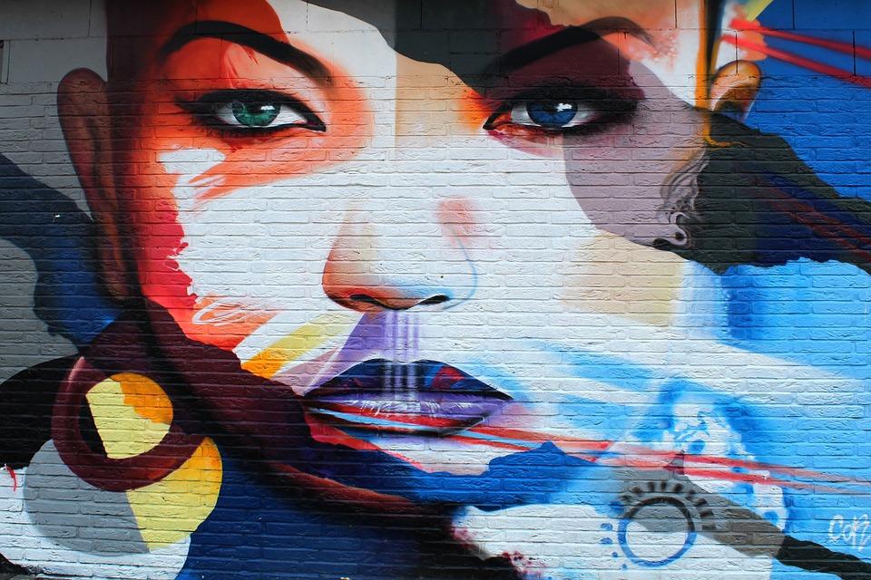 Graffiti, Woman, Painting, Artwork, Street Art, Face
