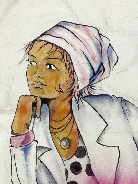 Graffiti, Woman, Wall, Street Art