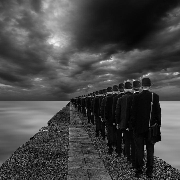 Assimilation, Surreal, People, Men, Waiting, Street
