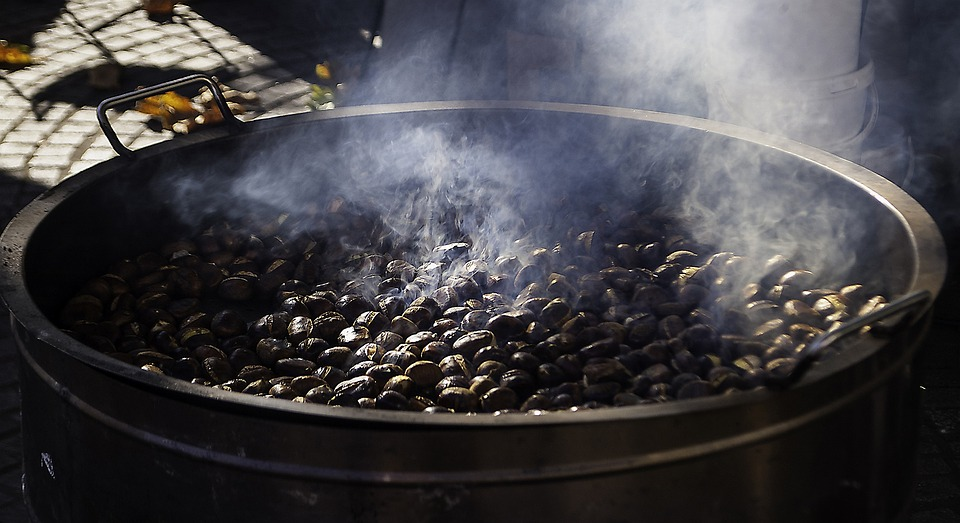 Roasting Chestnuts, Chestnuts, Autumn, Street, Roasted