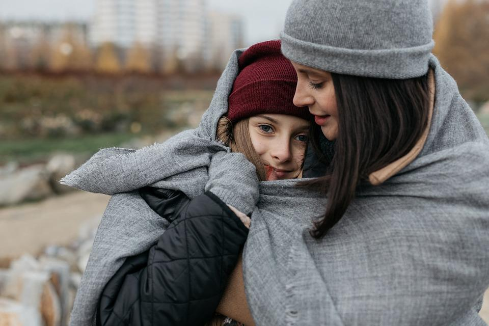 Family, Mom, Daughter, Baby, Teen, Autumn, Street, City