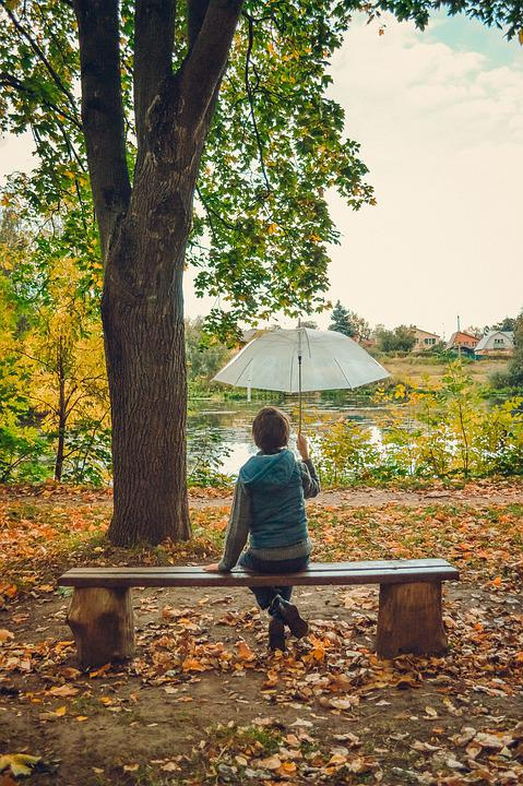 Umbrella, Bench, Park, Boy, Sitting, Baby, Kids, Street