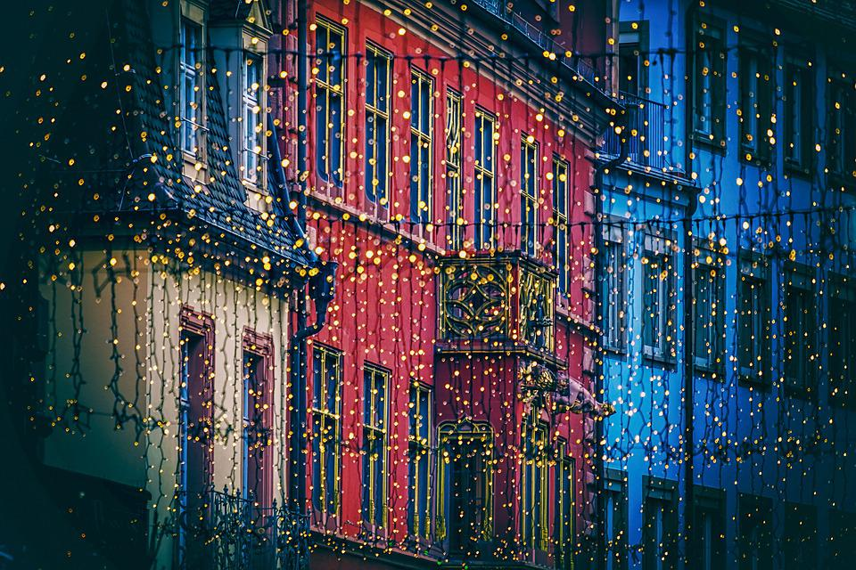 Christmas Lights, Street, Town, Christmas Decoration