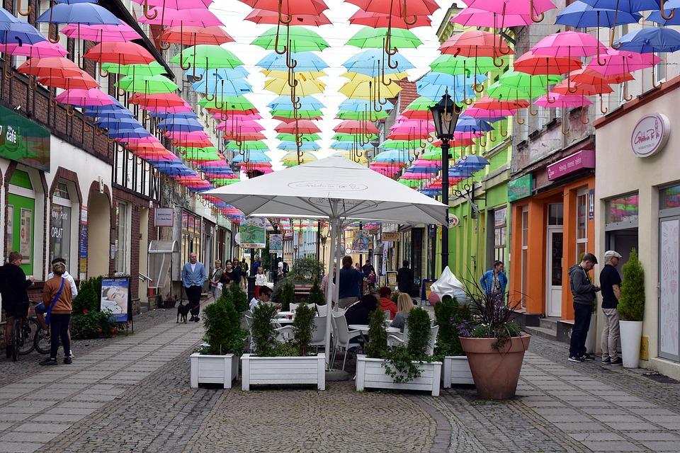 Promenade, Street, City, Decoration, Umbrellas