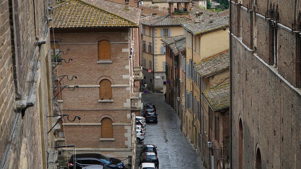 Siena, Italy, Street, Alley, Car, Brick, Cityscape