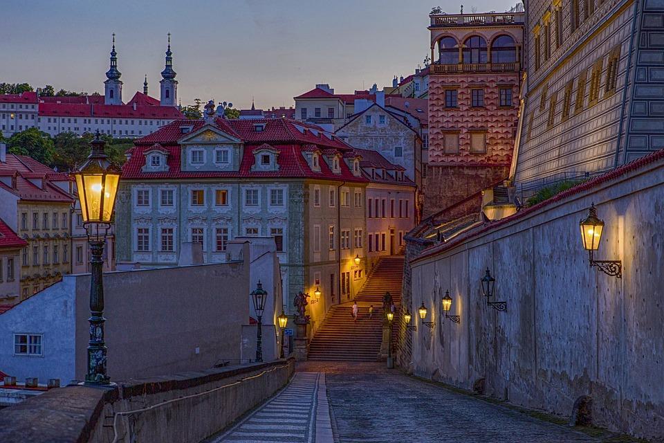 Old Town, Buildings, Street, Twilight, Dusk, Dawn