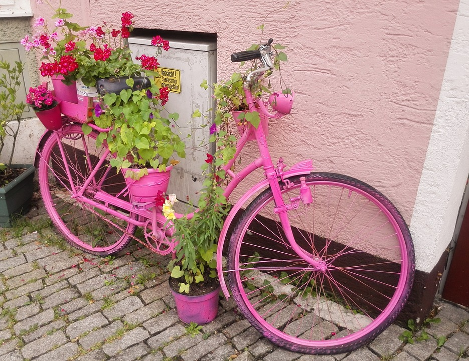 Pink, Bike, Decor, Street, Germany