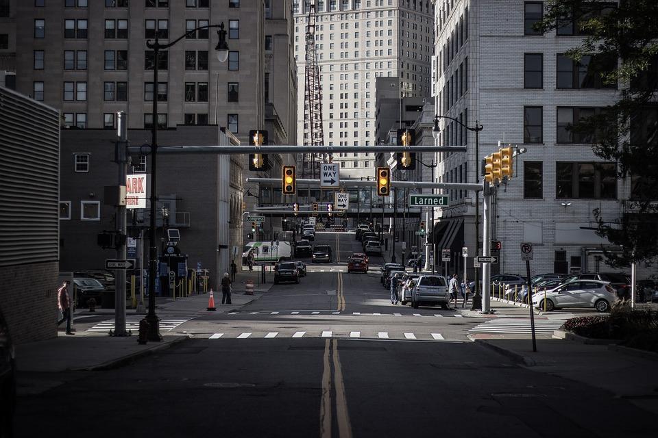 Detroit, Street, Traffic Light, Motor City, Gray Street