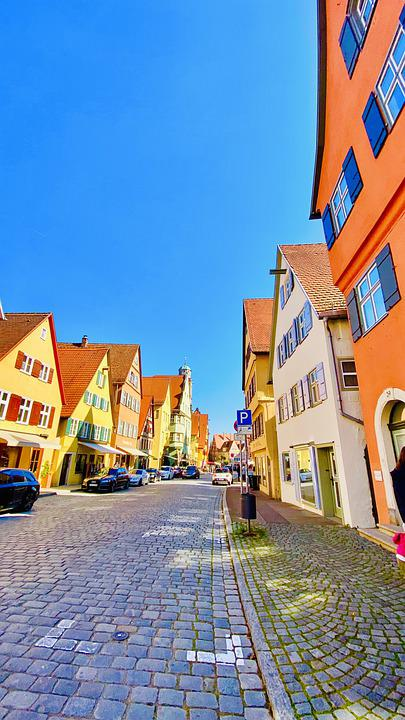 Houses, Street, Dinkelsbühl, Germany, Buildings, Town