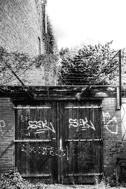 Gate, Door, Street, Black And White, Entrance