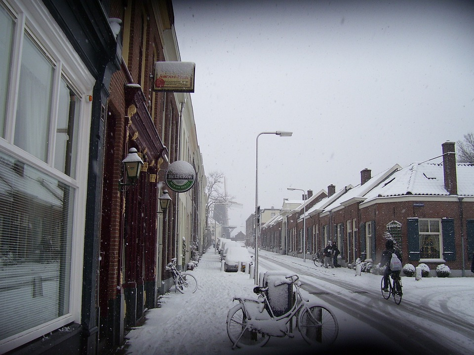 Snow, Holland, Frozen, Cold, Outside, Street, Arnhem