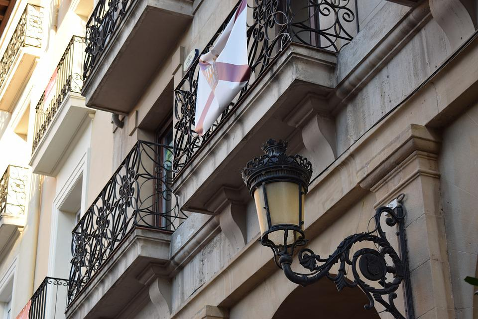 Street Lamp, Facade, Balcony, Old Building