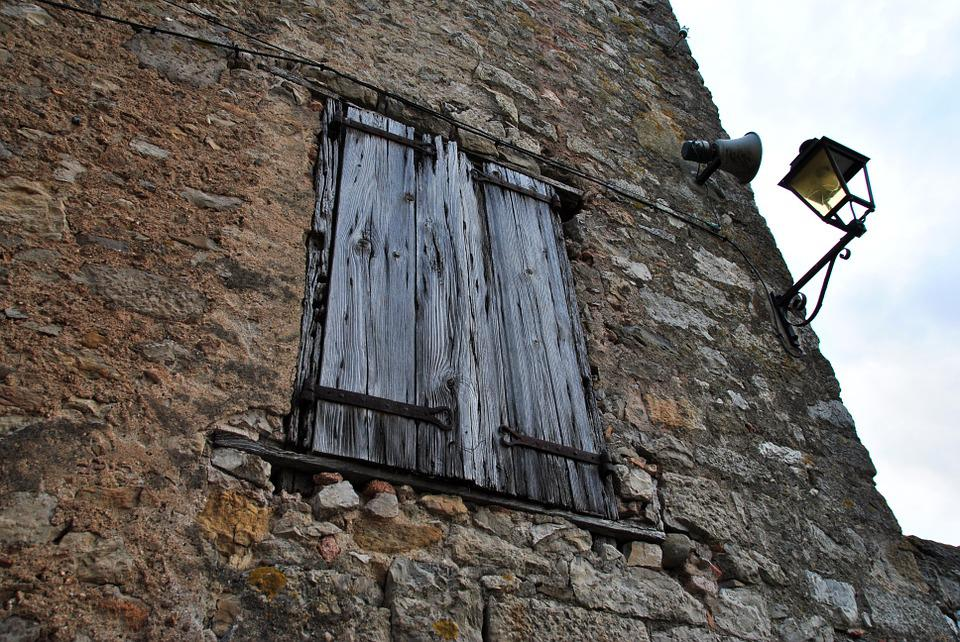 Window, Old House, Stone, Facade, Street Lamp