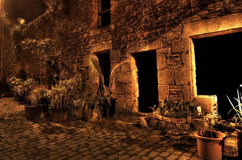 Street, Lane, Night, Floor Lamp, Pierre, Old, Facade