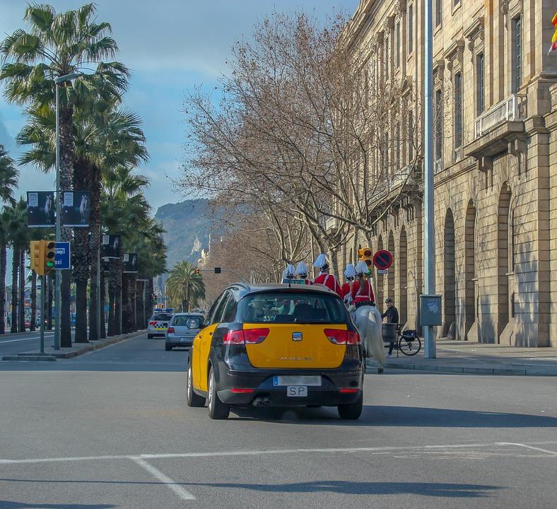 Spain, Taxi, Barcelona, Street, Palm Trees