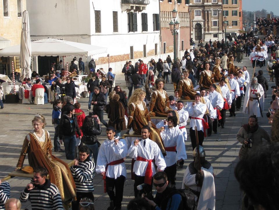 Venice, Italy, Parade, Festival, People, Street