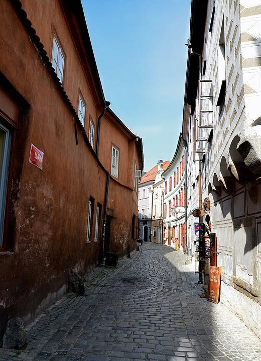 Street, Architecture, Houses, Path, Czech Budejovice