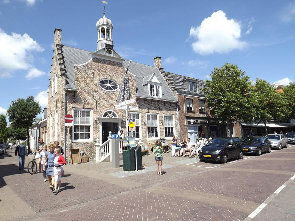 Church, Zealand, Street, People, House, Netherlands