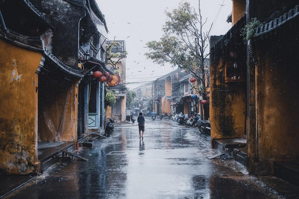 Person, Road, Street, Buildings, Rain, Rainy, Urban