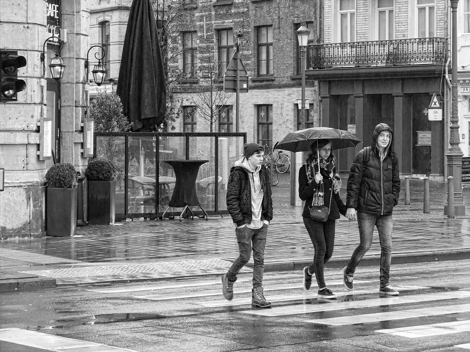 Street Photography, Street, Rain, Umbrella, Antwerp