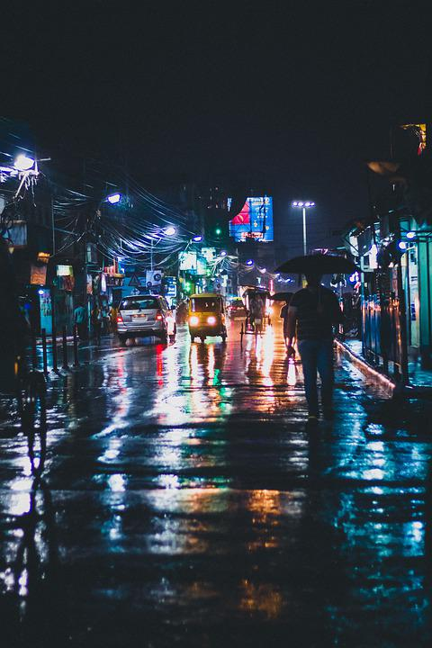 Street, Rainy Day, Rain, People At Night, Shadow