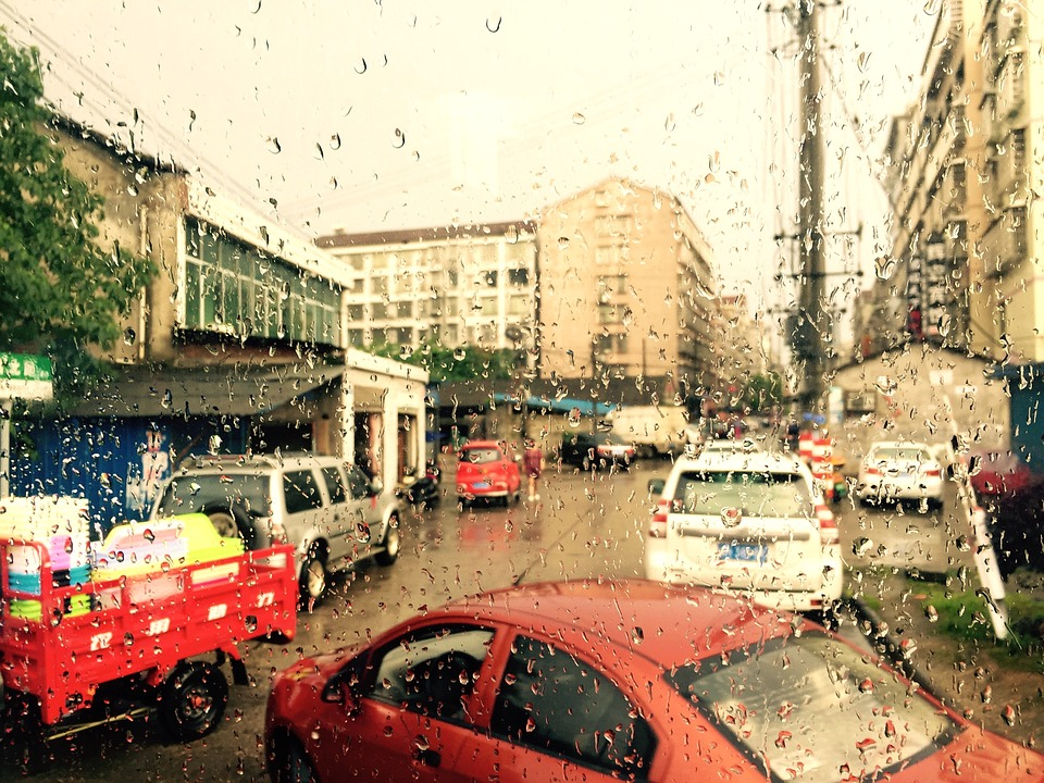 Yiyang, Window, Rain, Road, Street, Automotive, Busy