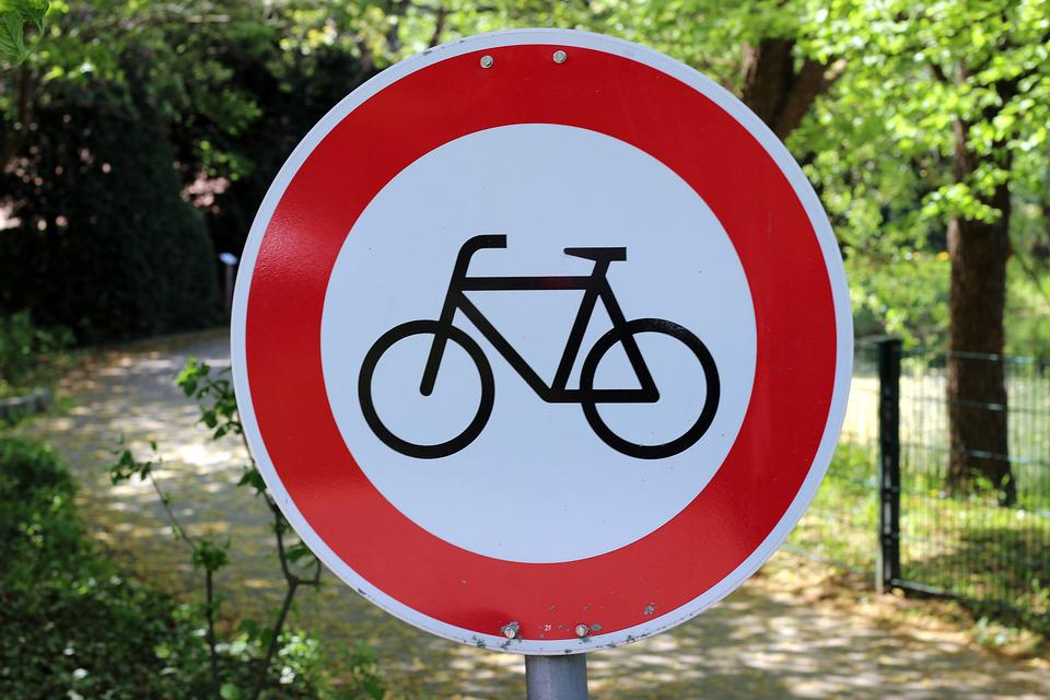 Shield, Round, Characters, Bike, District, Street Sign