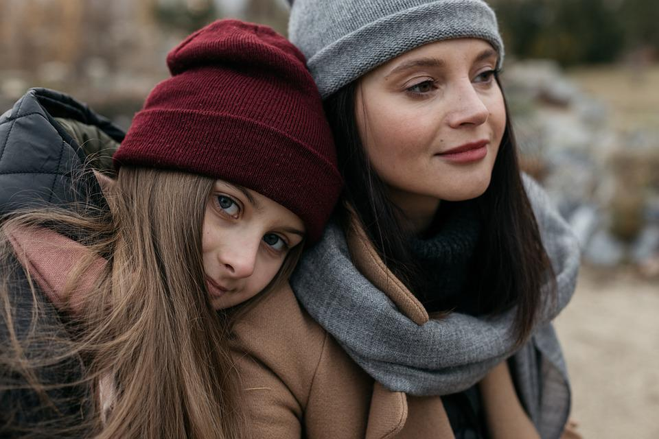 Family, Mom, Daughter, Baby, Teen, Autumn, Street, City