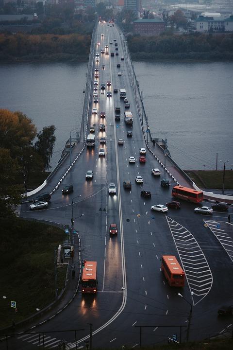 Bridge, Street, City, River, Traffic, Machinery