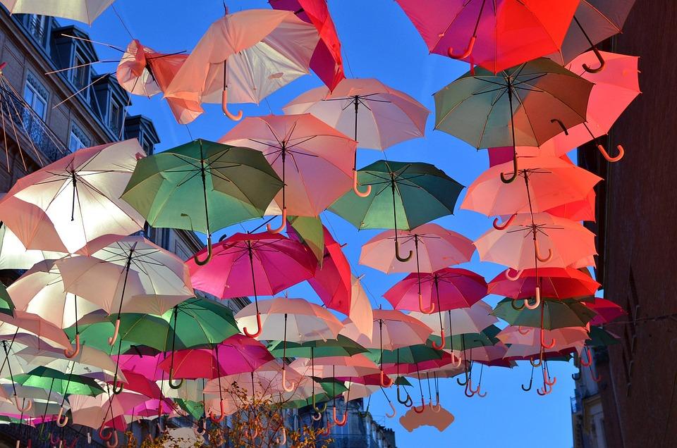 Umbrellas, Colors, Street